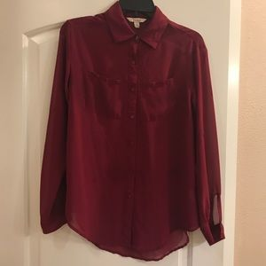Maroon button up blouse